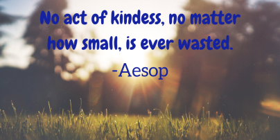 No act of kindess, no matter how small, is ever wasted.